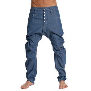 Casual Mens Button Solid Denim Trousers