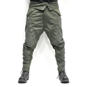 Men's Fashion Zippper Patchwork Hanging Loose Style Pocket Pants