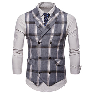 Mens Casual Retro Lapel Double-Breasted Plaid Vest