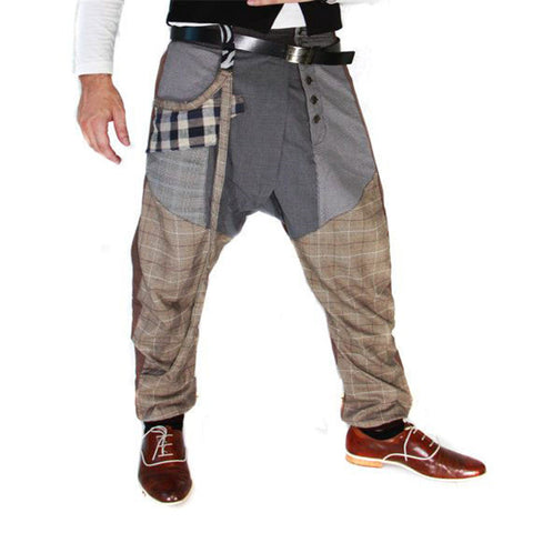 Men casual loose tooling button plaid splicing trousers