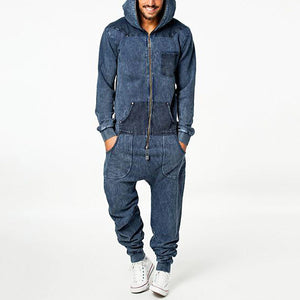 Mens casual street denim stitching long sleeve hooded jumps