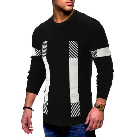 Stitched striped crew neck long sleeve sweater