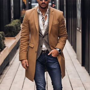 Men's Solid Color Flap Collar Slim Long Woolen Coat