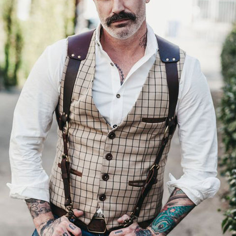 Men's casual plaid V-neck slim vest