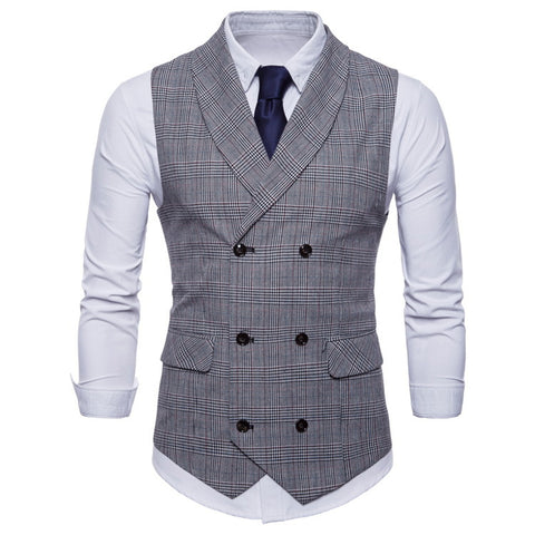 Mens Casual Suit Retro Collar Double-Breasted Striped Vest