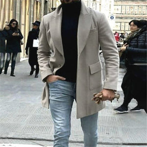 Men's Solid Color Lapel Pocket Coat