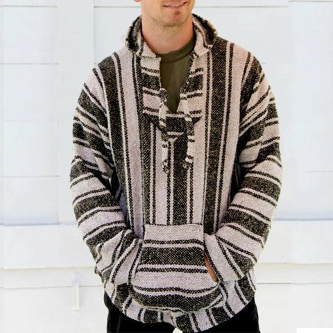 National Striped Long Sleeves Baja Sweaters