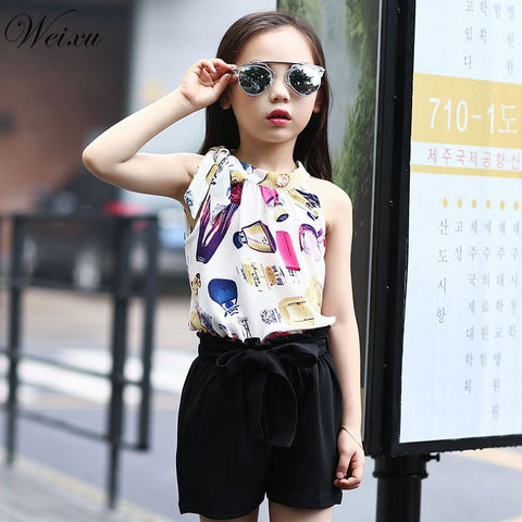 Chiffon Sleeveless Top + Bow Shorts Suit