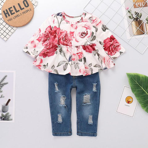 Baby Girls Floral Print Shirt  w/Jeans