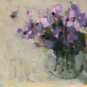 Flowers in a vase painted in acrylic on watercolour paper