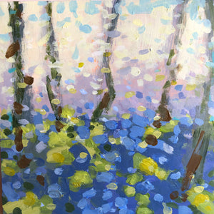 A painting of woodland bluebells