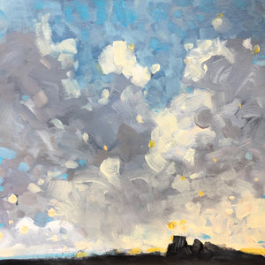 painting of clouds, sky and land