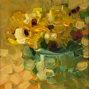 Yellow flowers in  a vase, painting