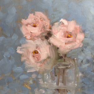 Pink flowers in a vase, painting