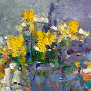 Acrylic painting of a vase of yellow flowers