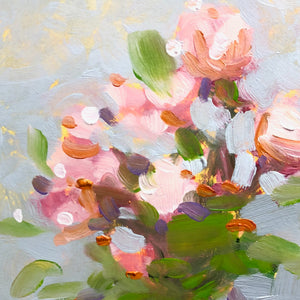 Painting of pink roses in a vase detail