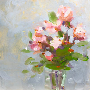 Painting of pink roses in a vase