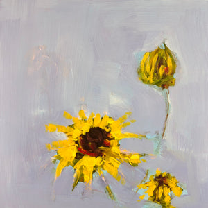 Yellow flowers on a blue background, painting