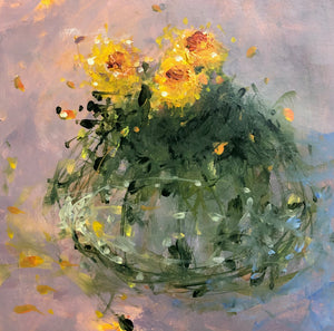 Spring flowers painted in semi abstract style
