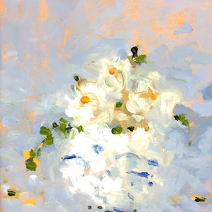 Cream flowers in a vase, painting.