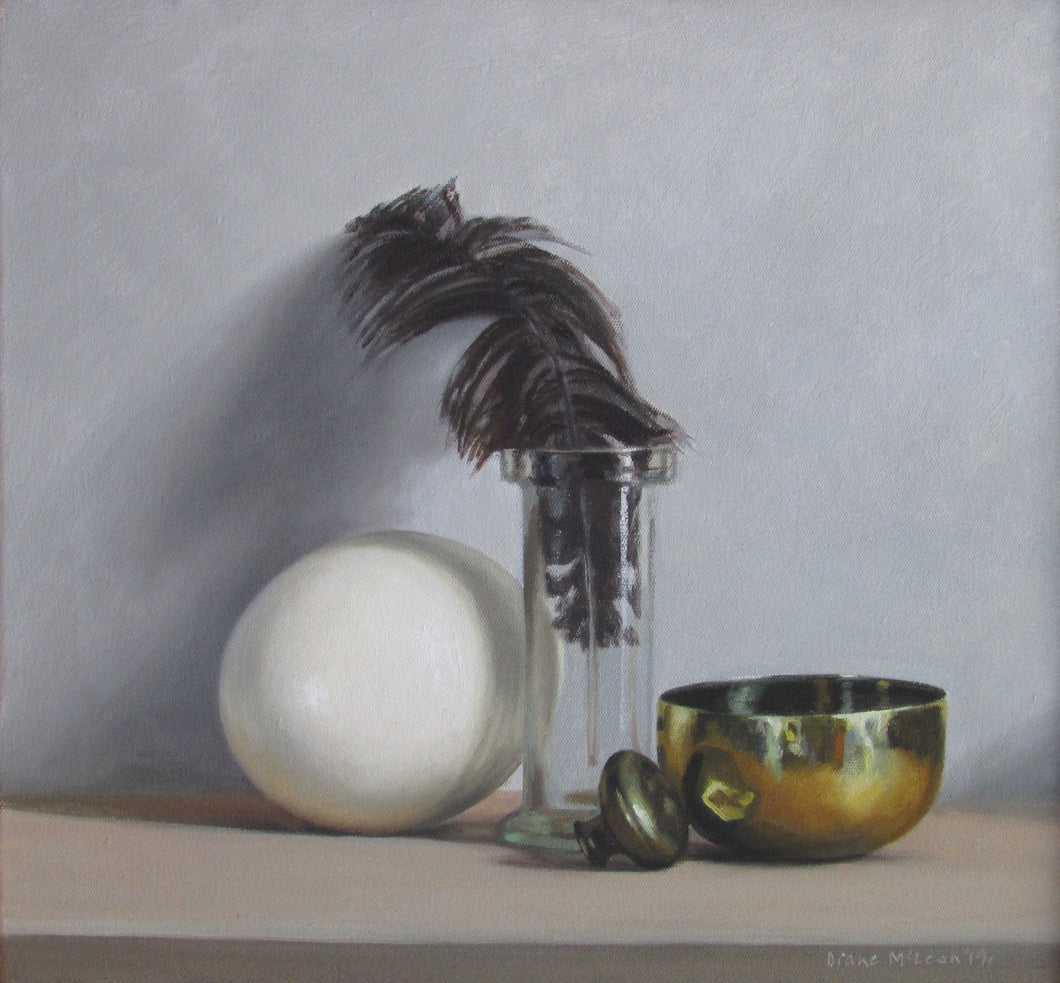 Still life with ostrich feather and egg