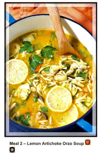 Lemon Artichoke Orzo Soup, Freezable