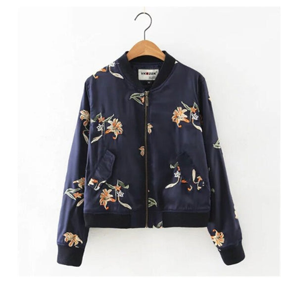 Autumn Women Flower Embroidery Stand Collar Long Sleeve Jacket Ladies V-neck Pockets Short Bomber Coat Outerwear