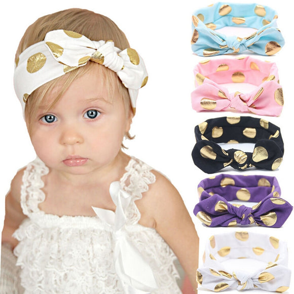 1 PCS Gold Polka Dots Newborn Cotton Headband