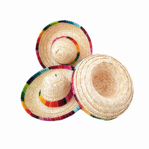 6pcs/lot natural straw mini sombrero/new design mini mexican hat
