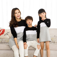 Load image into Gallery viewer, Family Look Mother Daughter Dress 2019 Family Clothing Father Son T-Shirt Cotton Patchwork Striped