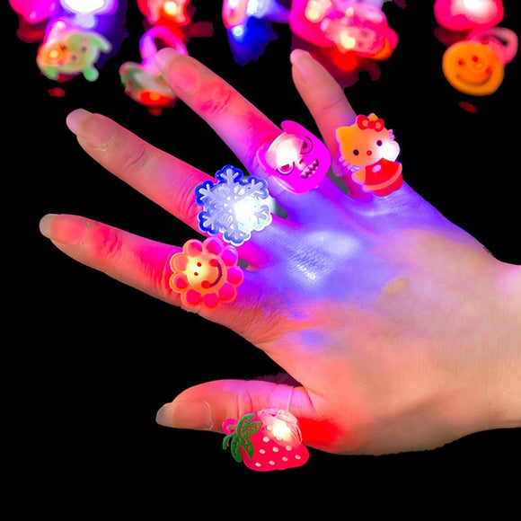 10pcs Cute Cartoon LED Flashing Finger Ring