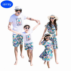 bohemian style summer beach dress mother daughter dress father son matching clothes boys t shirt casual pants