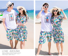 Load image into Gallery viewer, bohemian style summer beach dress mother daughter dress father son matching clothes boys t shirt casual pants