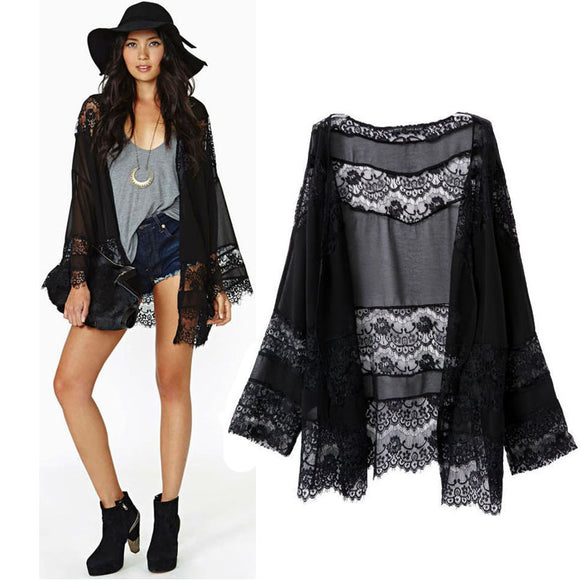 Hot Sale 2017 Hot Fashion Summer  Women Lace Splicing Hollow Kimono Cardigan Casual Loose Black Coat Wholesale Hot Sales