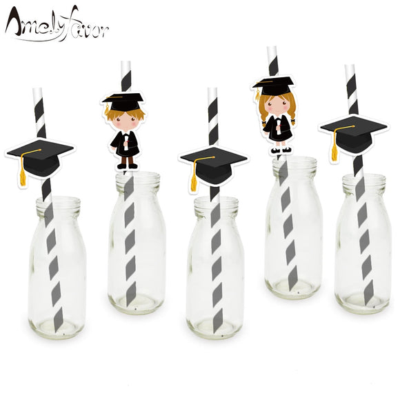24Pcs Graduation Paper Drinking Straws