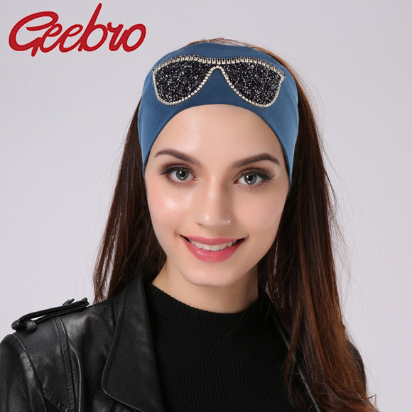 Geebro Women's Plain Stretch Headbands, Summer Fashion Cotton Sunglasses Elastic Headband For Girls