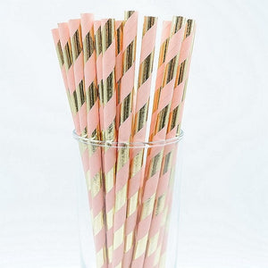25pcs Gold Foil Straws