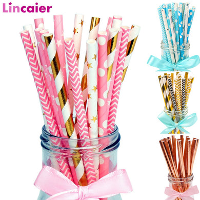 Lincaier 25Pcs Paper Drinking Straws