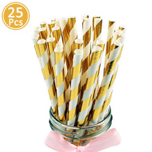 Load image into Gallery viewer, Lincaier 25Pcs Paper Drinking Straws