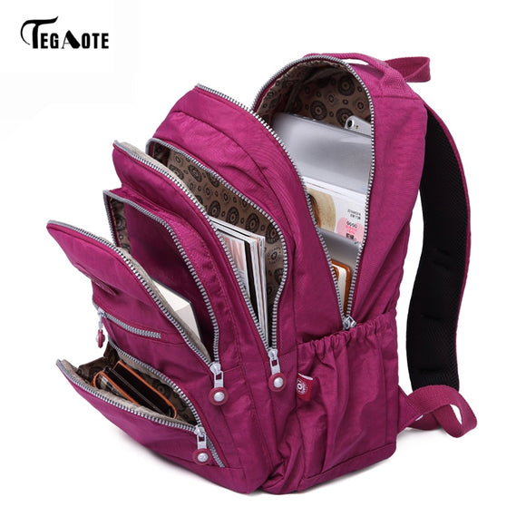 TEGAOTE Waterproof Nylon School Backpack  w/Laptop Compartment