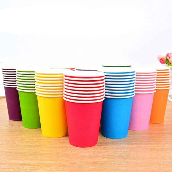 50pcs Solid Color Disposable Paper Cup 250ML
