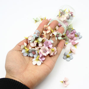 50Pcs 2cm Multicolor Flower for Wreath Scrapbooking Home Wedding Decoration