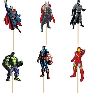 24pcs Avengers Cupcake Topper Picks Decoration