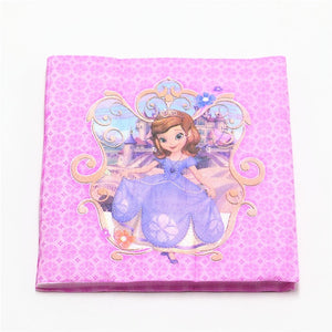106Pcs Princess Sofia Disposable Tableware Girls Birthday Party Decoration