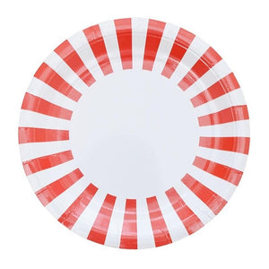 12PCS Colorful Striped Disposable Paper Plates Wedding Party Supplies
