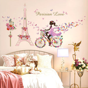 Fairy Bicycle Pink Paris Tower Wall Stickers