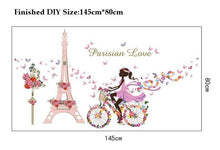 Load image into Gallery viewer, Fairy Bicycle Pink Paris Tower Wall Stickers