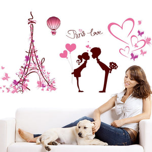 1 Pcs Removable Paris Love Wall Sticker