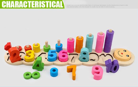 Montessori coloful Children Preschool Teaching kids Counting and Stacking, Board Wooden Math Toy learning educational toys