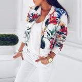 Plus Size Spring Women's Jackets Retro Floral Printed Coat Female Long Sleeve Outwear Clothes Short Bomber Jacket Tops 5XL